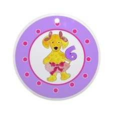 Tutu Labradoodle Age 6 Polka Dots Round Ornament