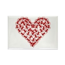 Red Ants Heart Rectangle Magnet (10 pack)