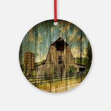 farm barn rustic Round Ornament