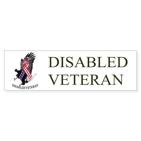 Disabled Veteran w/Eagle and Flad Bumper Sticker