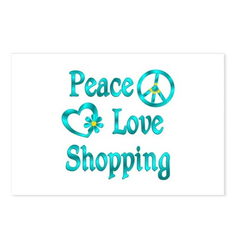 Peace Love Shopping Postcards (Package of 8)