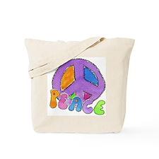Purple Peace Sign Tote Bag