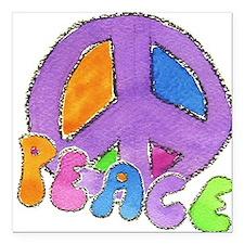"Purple Peace Sign Square Car Magnet 3"" x 3"""