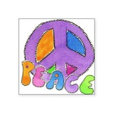 "Purple Peace Sign Square Sticker 3"" x 3"""