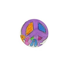 Purple Peace Sign Mini Button
