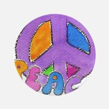 """Purple Peace Sign 3.5"""" Button"""