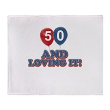 50 and loving it designs Throw Blanket