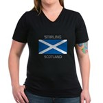 Stirling Scotland Women's V-Neck Dark T-Shirt