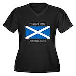 Stirling Scotland Women's Plus Size V-Neck Dark T-