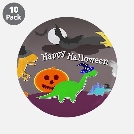 "Happy Halloween Dinosaurs Kids 3.5"" Button (10 pac"