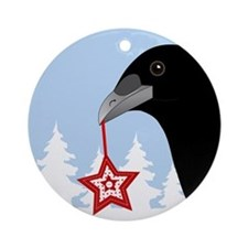 Yuletide Crow Ornament (Round)