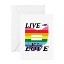 Ohio live let love blk font Greeting Cards