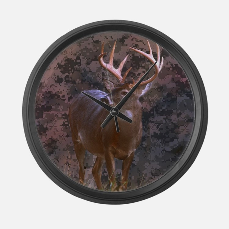 camouflage deer outdoor decor Large Wall Clock