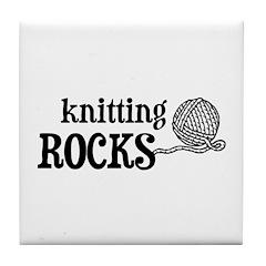 Knitting Rocks Tile Coaster