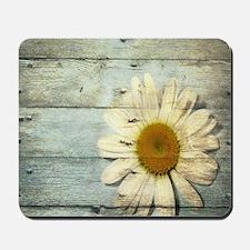 blue barnwood daisy Mousepad