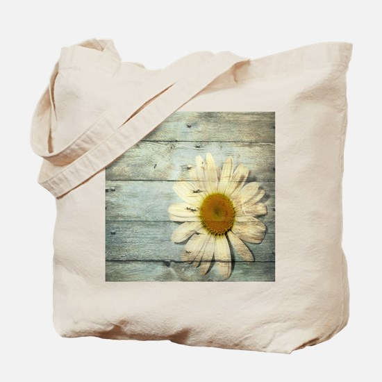 blue barnwood daisy Tote Bag