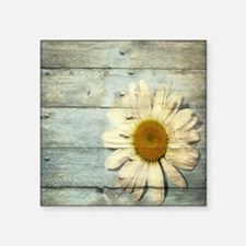 "blue barnwood daisy Square Sticker 3"" x 3"""
