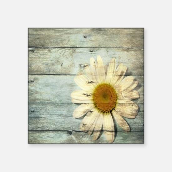 "blue barnwood daisy Square Sticker 3"" x 3"""