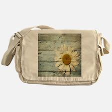 blue barnwood daisy Messenger Bag