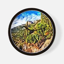 menton, watercolor Wall Clock