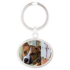 Wistful Pup Oval Keychain