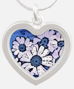 Purple Daisies on Blue - Mar Silver Heart Necklace