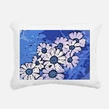 Purple Daisies on Blue - Rectangular Canvas Pillow
