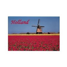Netherlands - Tulips and Windmill Rectangle Magnet