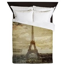 vintage eiffel tower paris Queen Duvet