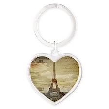 vintage eiffel tower paris Heart Keychain