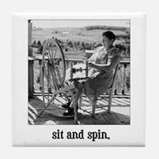 Sit and Spin - Yarn Spinner Tile Coaster