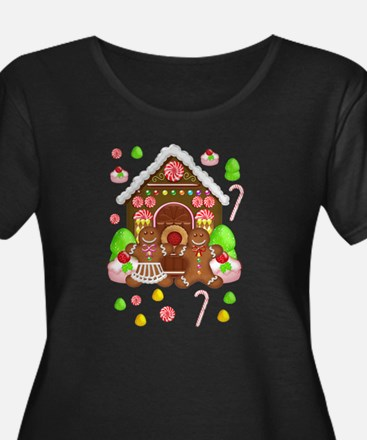 Gingerbread Plus Size Scoop Neck Dark T-Shirt