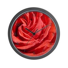 Red Rose Macro Wall Clock