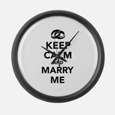 Keep calm and marry me Large Wall Clock