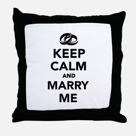 Keep calm and marry me Throw Pillow