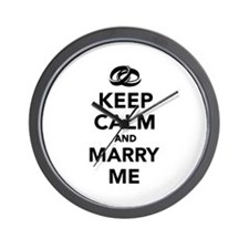 Keep calm and marry me Wall Clock