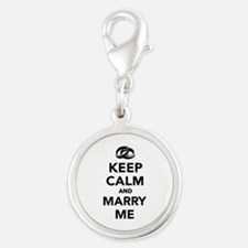 Keep calm and marry me Silver Round Charm