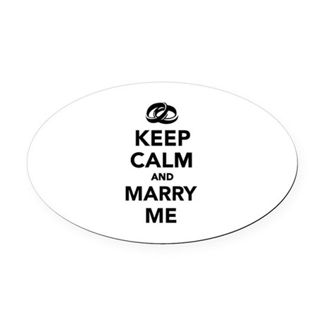 Keep calm and marry me Oval Car Magnet