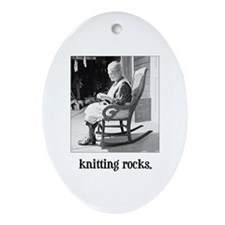 Knitting Rocks Oval Ornament