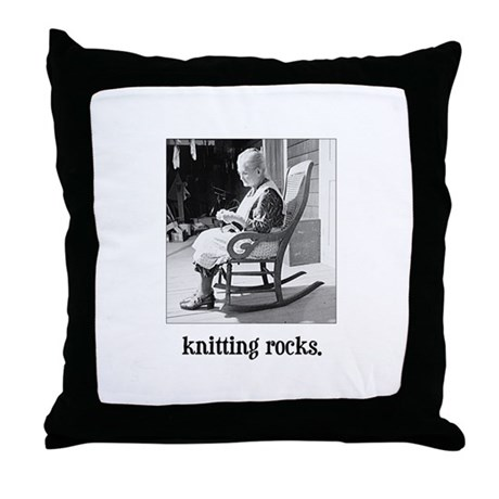 Knitting Rocks Throw Pillow
