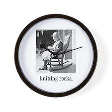 Knitting Rocks Wall Clock