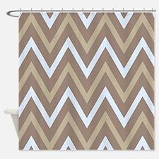Chevron Sand and Blue Zigzag Stripes Shower Curtai
