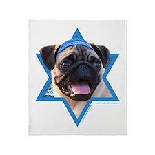 Hanukkah Star of David - Pug Throw Blanket