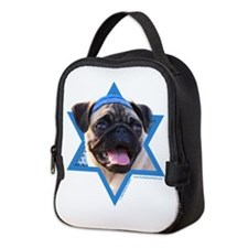 Hanukkah Star of David - Pug Neoprene Lunch Bag
