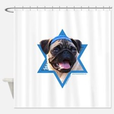 Hanukkah Star of David - Pug Shower Curtain