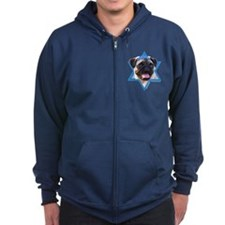 Hanukkah Star of David - Pug Zip Hoodie