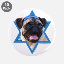 "Hanukkah Star of David - Pug 3.5"" Button (10 pack)"