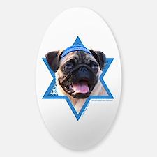 Hanukkah Star of David - Pug Sticker (Oval)