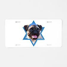 Hanukkah Star of David - Pug Aluminum License Plat