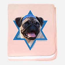 Hanukkah Star of David - Pug baby blanket